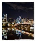 Portland Oregon At Night Fleece Blanket