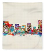 Portland Skyline Oregon Fleece Blanket