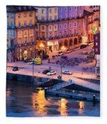 Porto Old Town In Portugal At Dusk Fleece Blanket