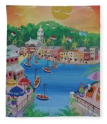Portofino, Italy, 2012 Acrylic On Canvas Fleece Blanket
