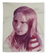 Portrait In Burgundy  Fleece Blanket