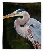 Portrait Of A Blue Heron Fleece Blanket