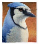 Portrait Of A Bluejay Fleece Blanket