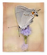 Portrait Of A Gray Hairstreak Fleece Blanket