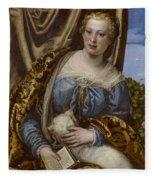 Portrait Of A Lady As Saint Agnes Fleece Blanket
