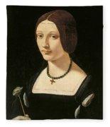 Portrait Of A Lady As Saint Lucy Fleece Blanket