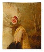 Portrait Of A Lady In A White Dress Fleece Blanket