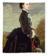Portrait Of A Lady In Black With A Dog Fleece Blanket