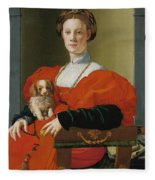 Portrait Of A Lady With A Lapdog Fleece Blanket
