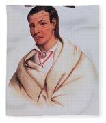 Portrait Of A-mis-quam, A Winnebago Brave Coloured Engraving Fleece Blanket