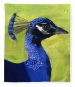 Portrait Of A Peacock Fleece Blanket