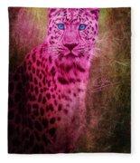 Portrait Of A Pink Leopard Fleece Blanket