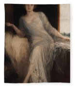 Portrait Of A Seated Woman Fleece Blanket