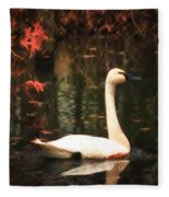Portrait Of A Swan Fleece Blanket