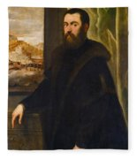 Portrait Of A Venetian Senator Fleece Blanket