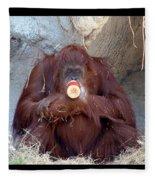 Portrait Of An Orangutan Fleece Blanket