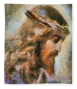 Portrait Of Christ Fleece Blanket