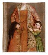 Portrait Of Countess Livia Da Porto Thiene And Her Daughter Deidamia Fleece Blanket