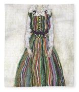 Portrait Of Edith Schiele, The Artists Fleece Blanket