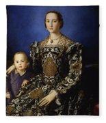Portrait Of Eleanor Of Toledo With Her Son Giovanni De' Medici Fleece Blanket