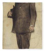 Portrait Of Emili Vilanova Fleece Blanket
