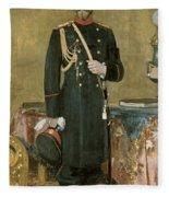 Portrait Of Emperor Nicholas II 1868-1918 1895 Oil On Canvas Fleece Blanket