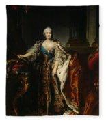 Portrait Of Empress Elizabeth, 1758 Oil On Canvas Fleece Blanket