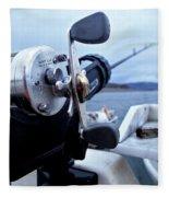 Portrait  Of Fishing Reel On Boat While Fleece Blanket