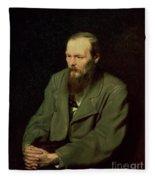 Portrait Of Fyodor Dostoyevsky Fleece Blanket