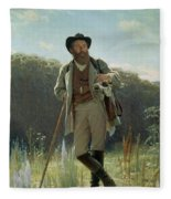 Portrait Of Ivan Ivanovich Shishkin Fleece Blanket