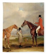 Portrait Of John Drummond On A Hunter With A Groom Holding His Second Horse Fleece Blanket