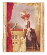 Portrait Of Louise-elisabeth De France 1727-59 Duchess Of Parma And Her Son Ferdinand 1751-1802 Fleece Blanket