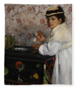 Portrait Of Mademoiselle Hortense Valpincon Fleece Blanket