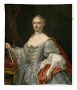 Portrait Of Maria Amalia Of Saxony As Queen Of Naples Overlooking The Neapolitan Crown Fleece Blanket