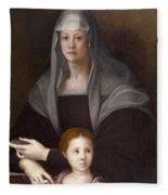 Portrait Of Maria Salviati De' Medici With Giulia De' Medici Fleece Blanket