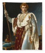 Portrait Of Napoleon In Coronation Robes Fleece Blanket