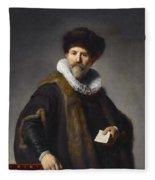 Portrait Of Nicolaes Ruts Fleece Blanket