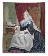 Portrait Of Queen Victoria Fleece Blanket