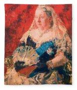 Portrait Of Queen Victoria Fleece Blanket