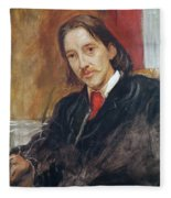 Portrait Of Robert Louis Stevenson 1850-1894 1886 Oil On Canvas Fleece Blanket