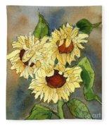 Portrait Of Sunflowers Fleece Blanket