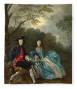 Portrait Of The Artist With His Wife And Daughter Fleece Blanket