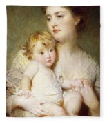 Portrait Of The Duchess Of St Albans With Her Son Fleece Blanket