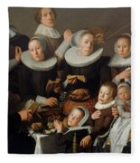 Portrait Of The Painter Andries Van Bochoven And His Family Fleece Blanket