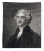 Portrait Of Thomas Jefferson Fleece Blanket