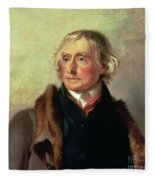 Portrait Of Thomas Jefferson Fleece Blanket