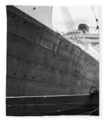 Portside Bw Queen Mary Ocean Liner Long Beach Ca Fleece Blanket