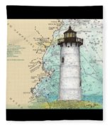 Portsmouth Harbor Lighthouse Nh Nautical Chart Map Art Fleece Blanket
