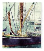 Portsmouth Harbour Boats Fleece Blanket