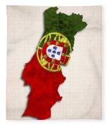 Portugal Map Art With Flag Design Fleece Blanket